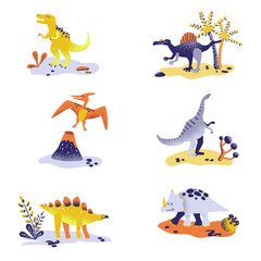 Cute Dinosaurs isolated on white background. Dinosaur footprint, Volcano, Palm tree, Stones. Baby Dino Collection for Nursery, Textile, Book, Print in vector © wooster