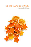 Dried orange and rind in the shape of star decorations for Christmas and the New Year - 228916494