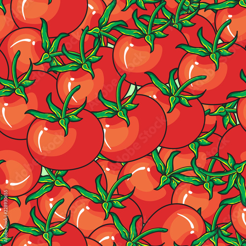 Red tomato seamless pattern on red background perfect for wallpaper, texture, fabric, textile, and surface design. Hand drawn vector illustration. - 228930655