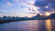 Quadro aerial view of the drone of the lagoon in rio de janeiro and copacabana, at dusk