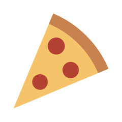 Pizza slice with pepperoni flat vector color icon for food apps and websites