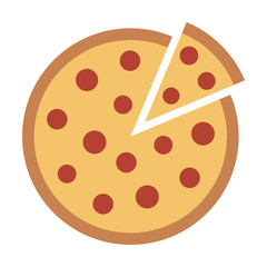 Whole pepperoni pizza pie with loose slice flat vector color icon for food apps and websites