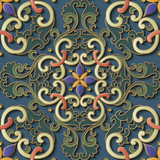 Seamless relief sculpture decoration retro pattern oriental spiral curve cross flower kaleidoscope - 228946853