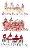 Bratislava red roof castle sketch with felt-tip pen and watercolor grunge vector illustration