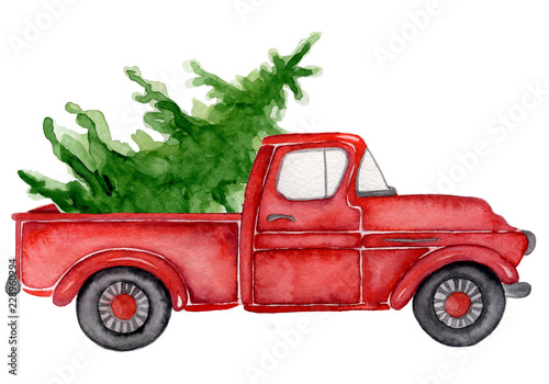 Red Christmas truck with pine trees New year watercolor illustration - 228960294