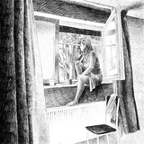Digital hand drawn picture of a young woman smoking a cigarette by the window