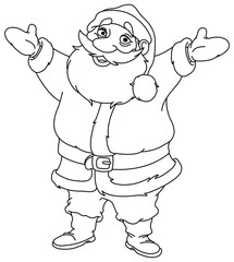 outlined cheerful santa