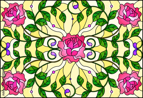 illustration-in-stained-glass-style-with-pink-roses-branches-on-yellow-background-rectangular-image