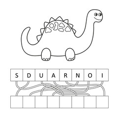 Vector illustration of cute cartoon dinosaur character for children, coloring book and Crossword puzzle game