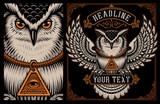 Vector illustration of Owl on the dark background.