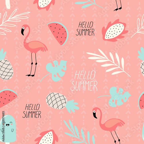 seamless background, pattern with drawings of exotic fruits, flamingos, tropical leaves and an inscription on a pink background - 228974683