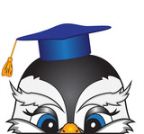 The head of a cartoon bird in an academic cap