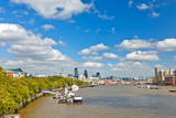 Panoramic view of Thames river in London - 228990487