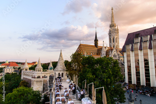 Budapest Buddha castle with amazing city view from above at sunset