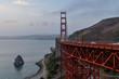 Golden Gate Bridge and Needles rocks at sunrise  California, USA