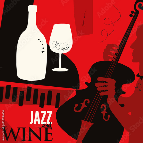Music and wine background flat vector illustration. Party flyer, jazz music club, wine tasting event, wine festival and celebrations poster design for brochure, invitation card, menu, promotion banner © abstract