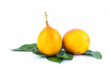 graadilla yellow passion fruit juicy with jelly inside delicious appetizing dessert asia against the background of green leaves