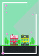 Colorful houses poster. Magical small town vector illustration - 228997628