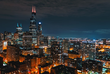 Downtown chicago cityscape skyscrapers skyline at night