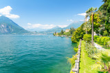 beautiful view on Lake Como in Varenna town, Italy - 229007044