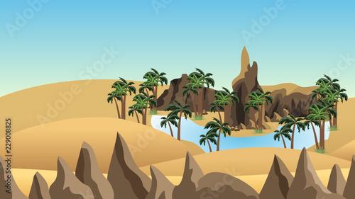 Desert landscape background with oasis