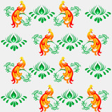 Seamless floral pattern in oriental design style with peacocks and floral elements. - 229009007
