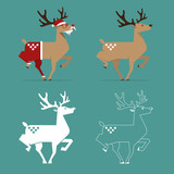 Christmas Reindeer in flat design for Christmas holiday decoration. Cartoon character. Vector. Illustration. - 229009671