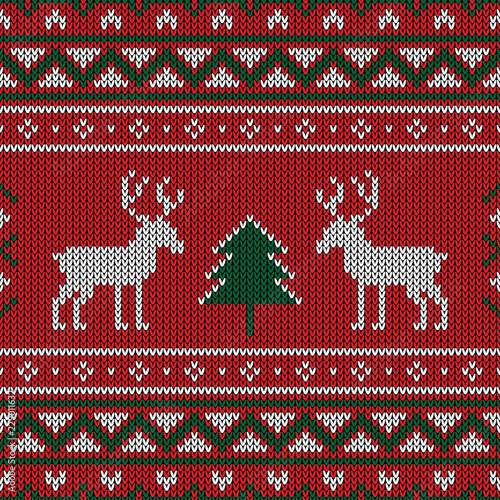 Christmas knitted pattern. Winter geometric seamless pattern. Design for sweater, scarf, comforter or clothes texture. © koson_thamai