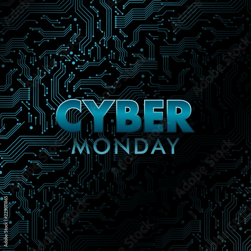 Holographic Cyber Monday banner. Circuit board pattern with blue neon texture. Vector illustration.