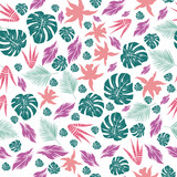 Abstract color leaves seamless pattern white background - 229027011