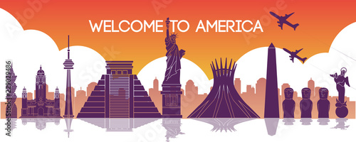 famous landmark of america,travel destination,silhouette design,purple and orange gradient color - 229029486