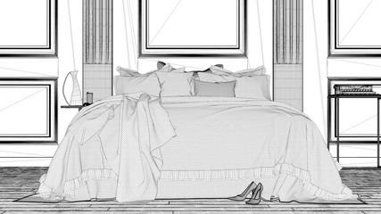 Interior design project, black and white ink sketch, architecture blueprint showing classic bedroom with wooden wall and double soft bed © ArchiVIZ
