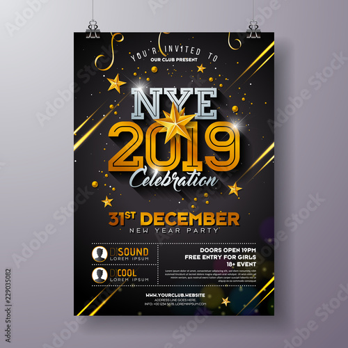 2019 new year party celebration poster template illustration with shiny gold number on black background