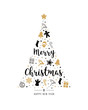 christmas tree gold black icon elements lettering white background