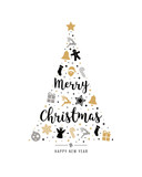 christmas tree gold black icon elements lettering white background - 229045617