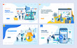 Set of landing page template for shopping, marketing, teamwork, business strategy. Modern vector illustration flat concepts decorated people character for website and mobile website development.