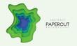 3D modern background with papercut shape gradient colors. - 229057224