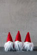 Three Red Gnomes, Cement, Copy Space For Advertisement