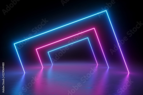 205c1aae 3d render, abstract background, square portal, glowing lines, tunnel, neon  lights