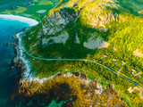 Seascape with sandy beach Lofoten Norway