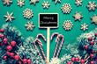 Black Christmas Sign,Lights, Merry Christmas, Retro Look