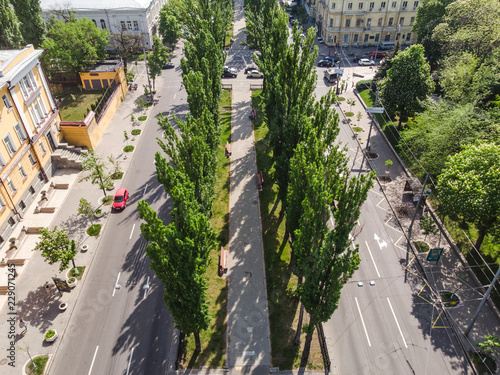 Green alley and road in the city by drone