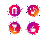 Drinks icons. Coffee cup and glass of beer symbols. Wine glass and cocktail signs. Gradient circle buttons with icons. Random dots design. Drinks vector