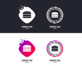 Logotype concept. Hamburger icon. Burger food symbol. Cheeseburger sandwich sign. Logo design. Colorful buttons with icons. Vector - 229075413