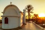View of a church near the sea on shore near Protaras, Cyprus - 229075414