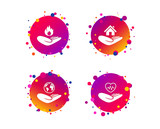 Helping hands icons. Health and travel trip insurance symbols. Home house or real estate sign. Fire protection. Gradient circle buttons with icons. Random dots design. Vector