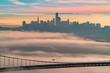 San Francisco Skyline With Low Fog