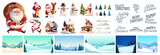 Christmas kit for creating postcards or posters. Included snow-covered houses, Santa Clauses, snowmen, Christmas trees, various snow drifts, lettering for headlines and backgrounds - 229083278