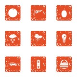 Situation icons set. Grunge set of 9 situation vector icons for web isolated on white background - 229083603
