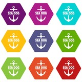 Pirate anchor icons 9 set coloful isolated on white for web
